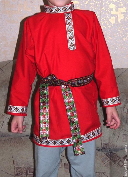 Одежда ручной работы. Ярмарка Мастеров - ручная работа. Купить косоворотка. Handmade. Ярко-красный, русский народный костюм, косоворотка