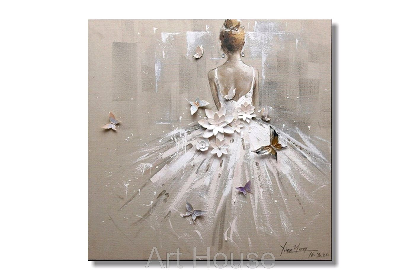 Картина с ЛЕПНИНОЙ, девушка в белом платье, рельефное панно,абстракция, Картины, Ставрополь,  Фото №1