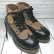 Обувь ручной работы handmade. Livemaster - original item Women`s felt boots brown with black genuine leather. Handmade.
