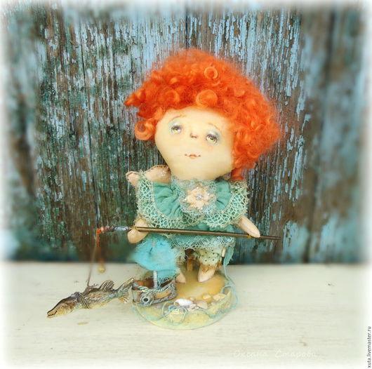 Коллекционные куклы ручной работы. Ярмарка Мастеров - ручная работа. Купить Маленький рыбачок. Handmade. Бирюзовый, рыбалка, мальчик и удочкой