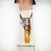 Украшения handmade. Livemaster - original item pendant butterfly in amber (polymer clay and glass). Handmade.
