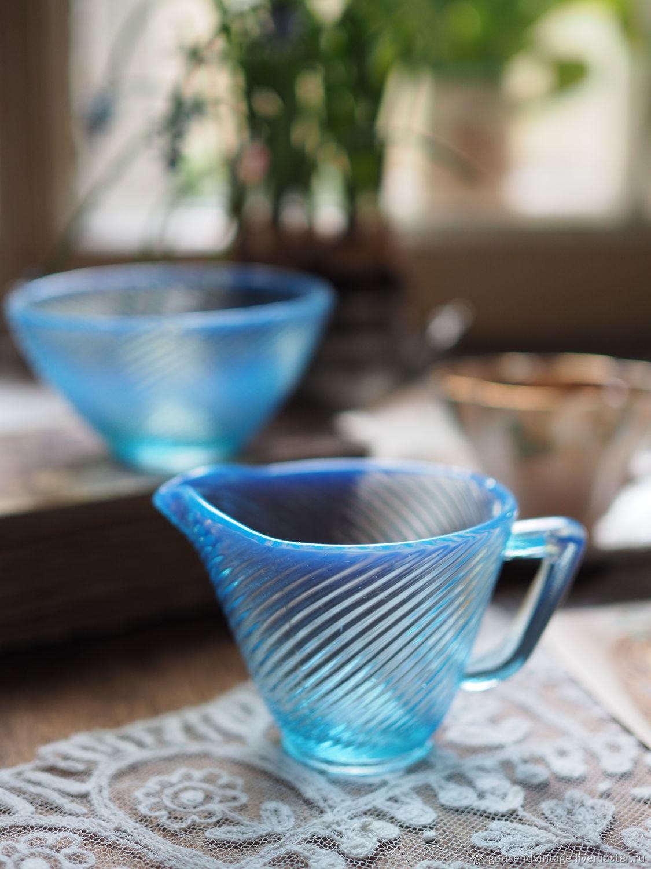 Set creamer and sugar bowl, vitriol glass, Vintage kitchen utensils, St. Petersburg,  Фото №1