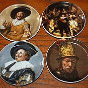 Винтаж handmade. Livemaster - original item 4 vintage miniature plates with works by famous artists. Handmade.
