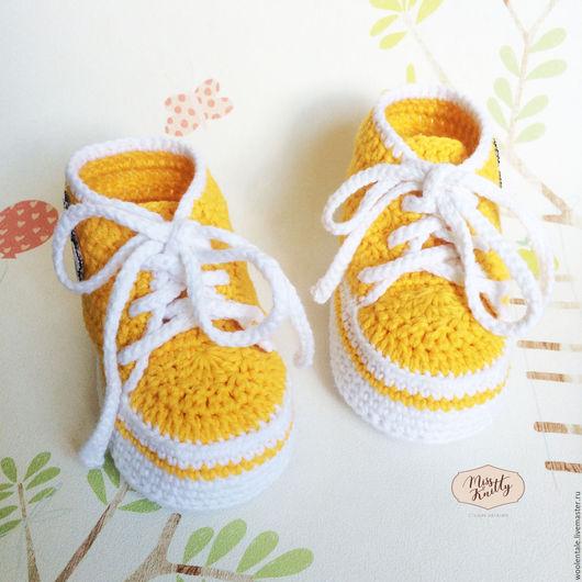 Пинетки кеды желтые вязаные крючком для девочки купить, пинетки купить, пинетки кеды, кедики, кеды вязаные, пинетки вязаные, детская вязаная обувь, детская обувь, пинетки вязаные для новорожденных