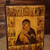 Картины и панно handmade. Livemaster - original item The icon our lady of VLADIMIR with the holidays in 16 scenes. Handmade.