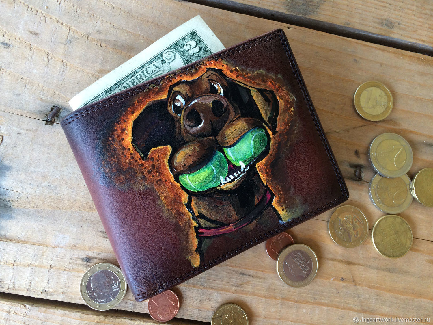 Bifold men wallet with painted Labrador and Spic Personalized coin pur, Wallets, Trakai,  Фото №1