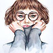 Картины и панно handmade. Livemaster - original item Portrait of a girl watercolor. a stylish gift. Handmade.