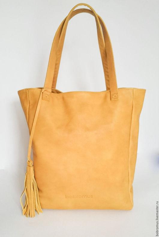 Женские сумки ручной работы. Ярмарка Мастеров - ручная работа. Купить Шоппер Горчица. Handmade. Желтый, повседневная сумка