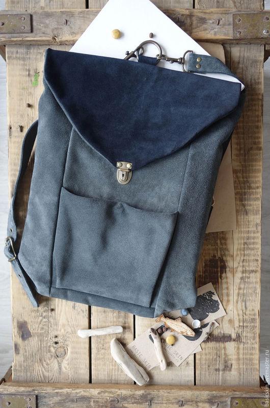Рюкзаки ручной работы. Ярмарка Мастеров - ручная работа. Купить Рюкзак из замши Морской бриз. Handmade. Серый, волна