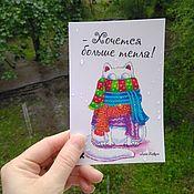 Открытки handmade. Livemaster - original item Greeting card with cat