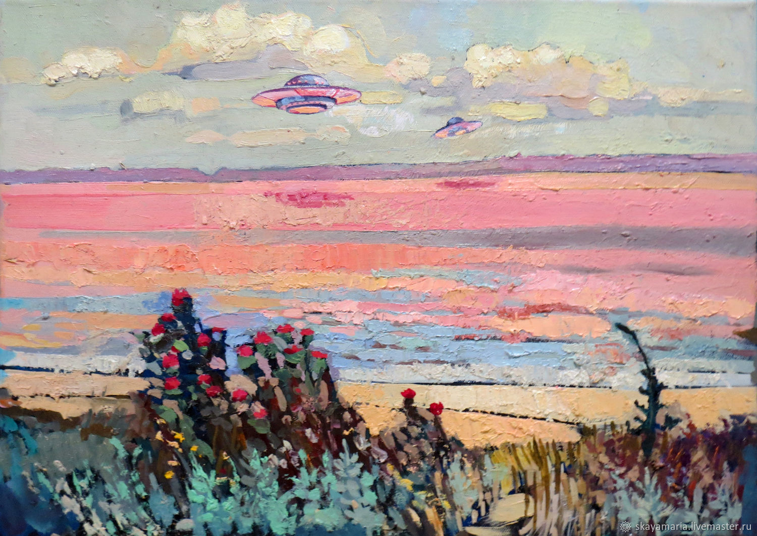 Oil painting. Interior. UFO on the background of a pink lake, Pictures, Moscow,  Фото №1