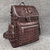 Сумки и аксессуары handmade. Livemaster - original item Backpack made of embossed crocodile leather, brown color. Handmade.