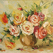 Картины и панно handmade. Livemaster - original item Roses in a vase. Handmade.