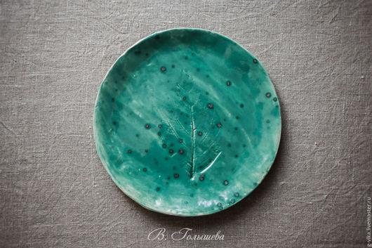 Декоративная посуда ручной работы. Ярмарка Мастеров - ручная работа. Купить большая тарелка с листом гортензии. Handmade. Морская волна