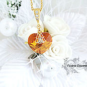 Украшения handmade. Livemaster - original item Heart pendant Swarovski gold plated necklace