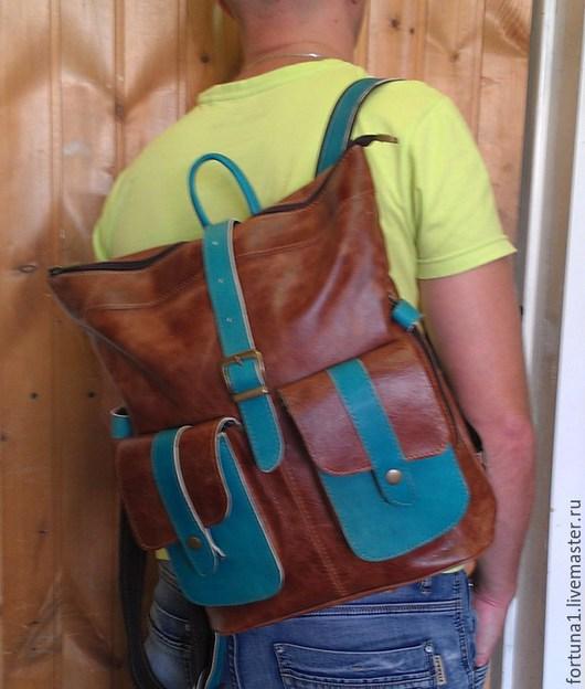 Рюкзаки ручной работы. Ярмарка Мастеров - ручная работа. Купить Рюкзак кожаный городской 11. Handmade. Разноцветный, городской рюкзак