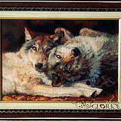 """Картины и панно ручной работы. Ярмарка Мастеров - ручная работа Вышитая картина Счастливая пара """"Happy Nappers"""". Волки. Handmade."""