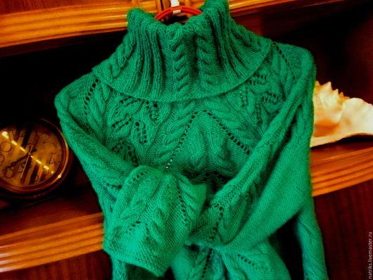 Кофты и свитера ручной работы. Ярмарка Мастеров - ручная работа. Купить Свитер Изумруд..Ворот съёмный.. Handmade. Зеленый