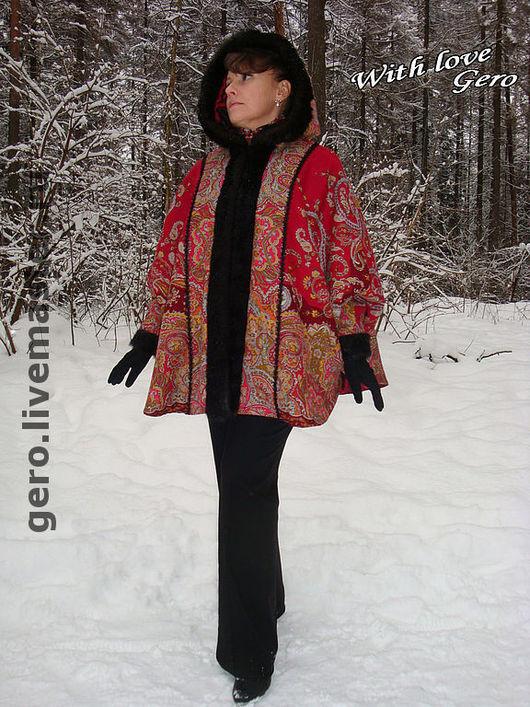 """Верхняя одежда ручной работы. Ярмарка Мастеров - ручная работа. Купить Пальто-накидка """"Тайны востока"""" из Павловопосадского платка. Handmade."""