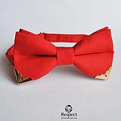 Аксессуары handmade. Livemaster - original item Tie red Elite / with metal corners in gold. Handmade.