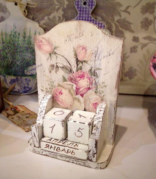 Календари ручной работы. Ярмарка Мастеров - ручная работа. Купить Вечный календарь Розы. Handmade. Декупаж, шебби-шик, розы