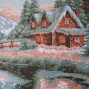 """Картины и панно ручной работы. Ярмарка Мастеров - ручная работа Вышивка крестом """"Загородный пейзаж-Зима"""". Handmade."""
