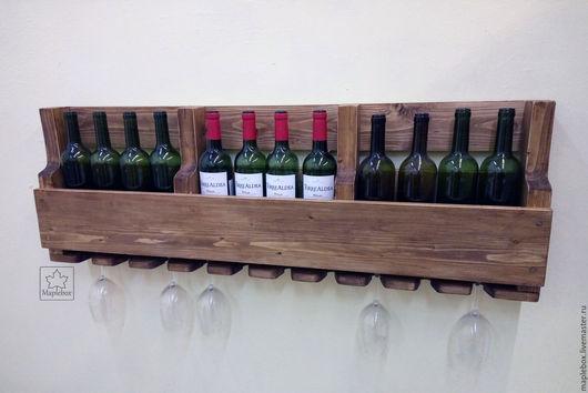 Мебель ручной работы. Ярмарка Мастеров - ручная работа. Купить Винная полка на 12 бутылок. Handmade. Вино, рустик, коричневый
