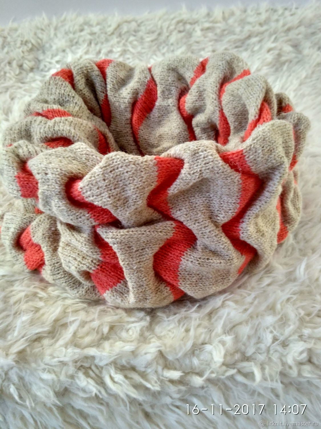 Scarf - Snood knitted in two turns baked milk coral, Scarves, Moscow,  Фото №1