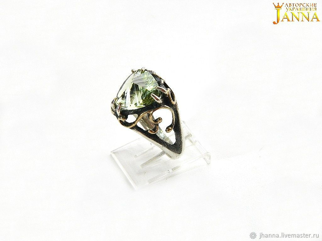 Green amethyst 'Elisa' ring in CONCAVE cut, Rings, Volgograd,  Фото №1