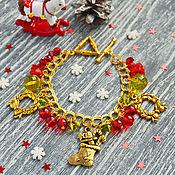 """Украшения ручной работы. Ярмарка Мастеров - ручная работа Красный браслет """"Рождественский"""" подарок на новый год. Handmade."""