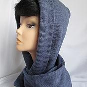 Аксессуары handmade. Livemaster - original item A copy of the product Hood scarf hood two-layer color jeans half-wool. Handmade.