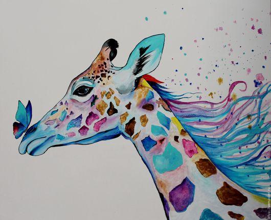 Животные ручной работы. Ярмарка Мастеров - ручная работа. Купить Картина маслом Жираф. Handmade. Комбинированный, жираф, радужный жираф