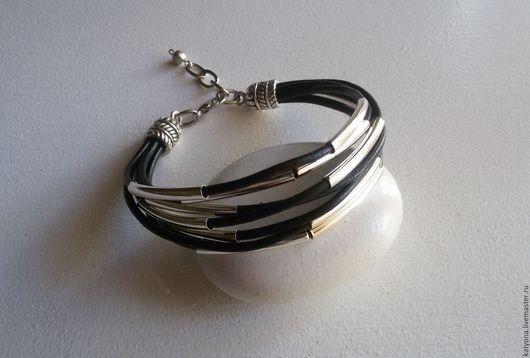 Браслеты ручной работы. Ярмарка Мастеров - ручная работа. Купить Кожаный браслет с металлическими трубочками. Handmade. Желтый браслет