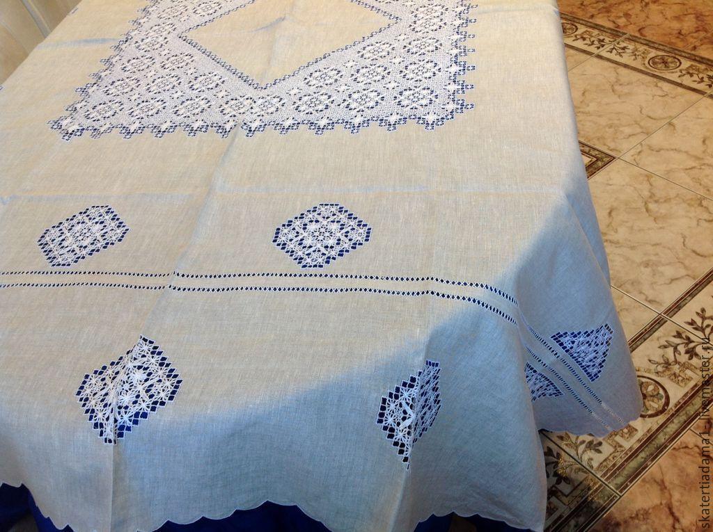 Льняные скатерти и салфетки с вышивкой 13
