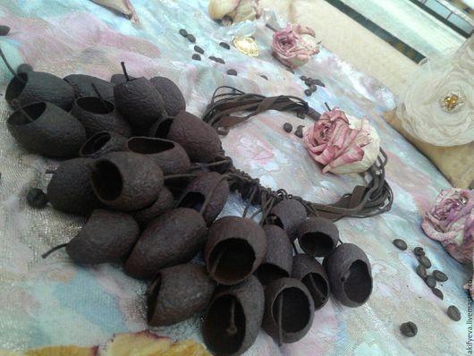 """Колье, бусы ручной работы. Ярмарка Мастеров - ручная работа. Купить Колье из коконов тутового шелкопряда """"Горький шоколад"""". Handmade."""