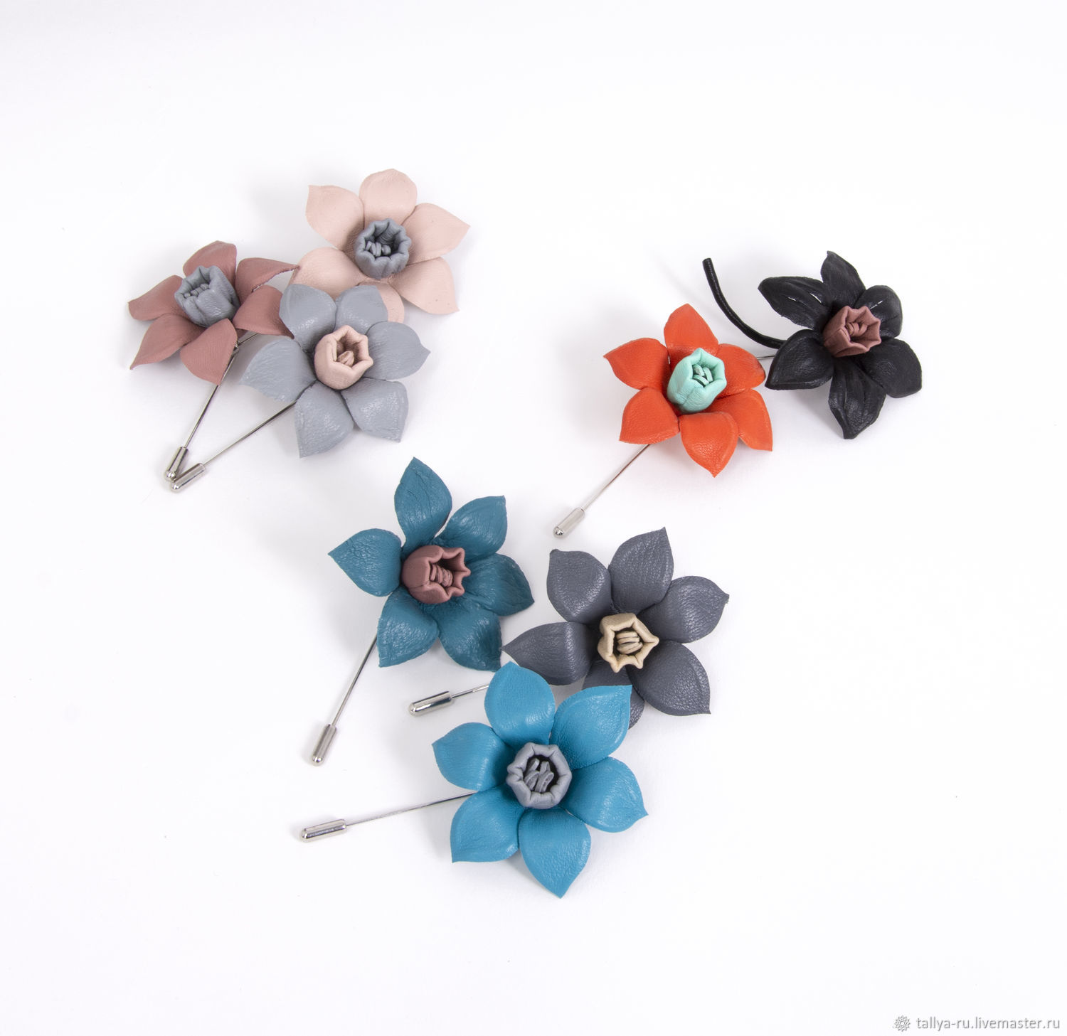 Boutonniere Narcissus leather, Brooches, Tver,  Фото №1