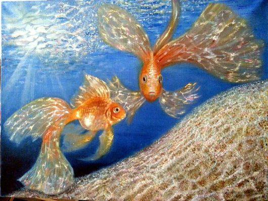 Пейзаж ручной работы. Ярмарка Мастеров - ручная работа. Купить Золотые рыбки. Handmade. Синий, золотые рыбки, подводное царство