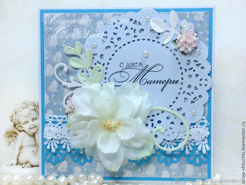 Днем рождения, открытка с салфеткой ажурной