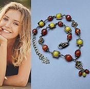 Украшения handmade. Livemaster - original item AUGUSTUS necklace from agate and carnelian. Handmade.