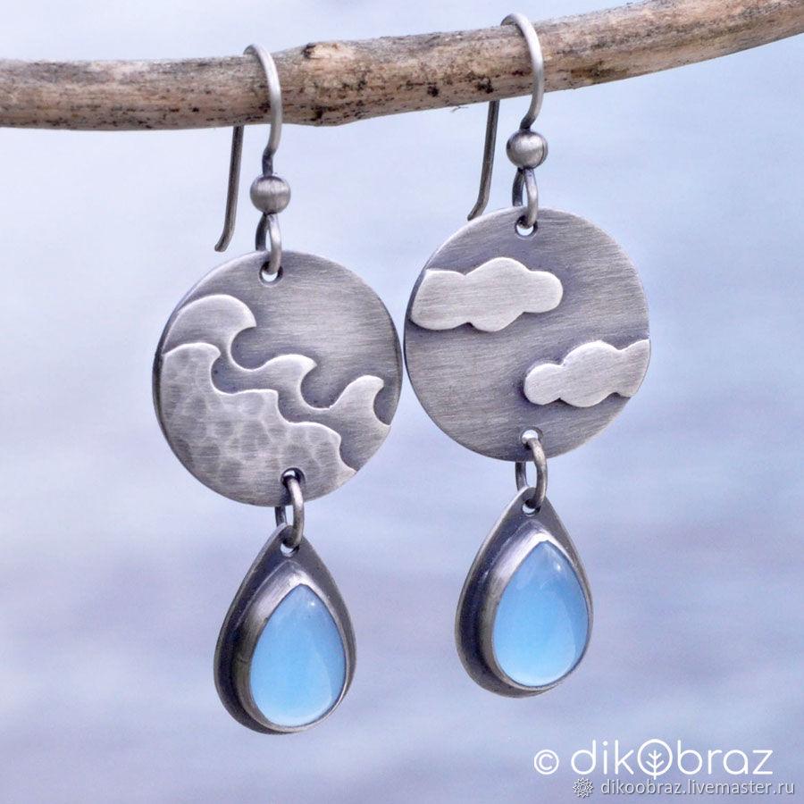 Earrings Silver Sea Sky Clouds, Chalcedony, Earrings, Moscow,  Фото №1
