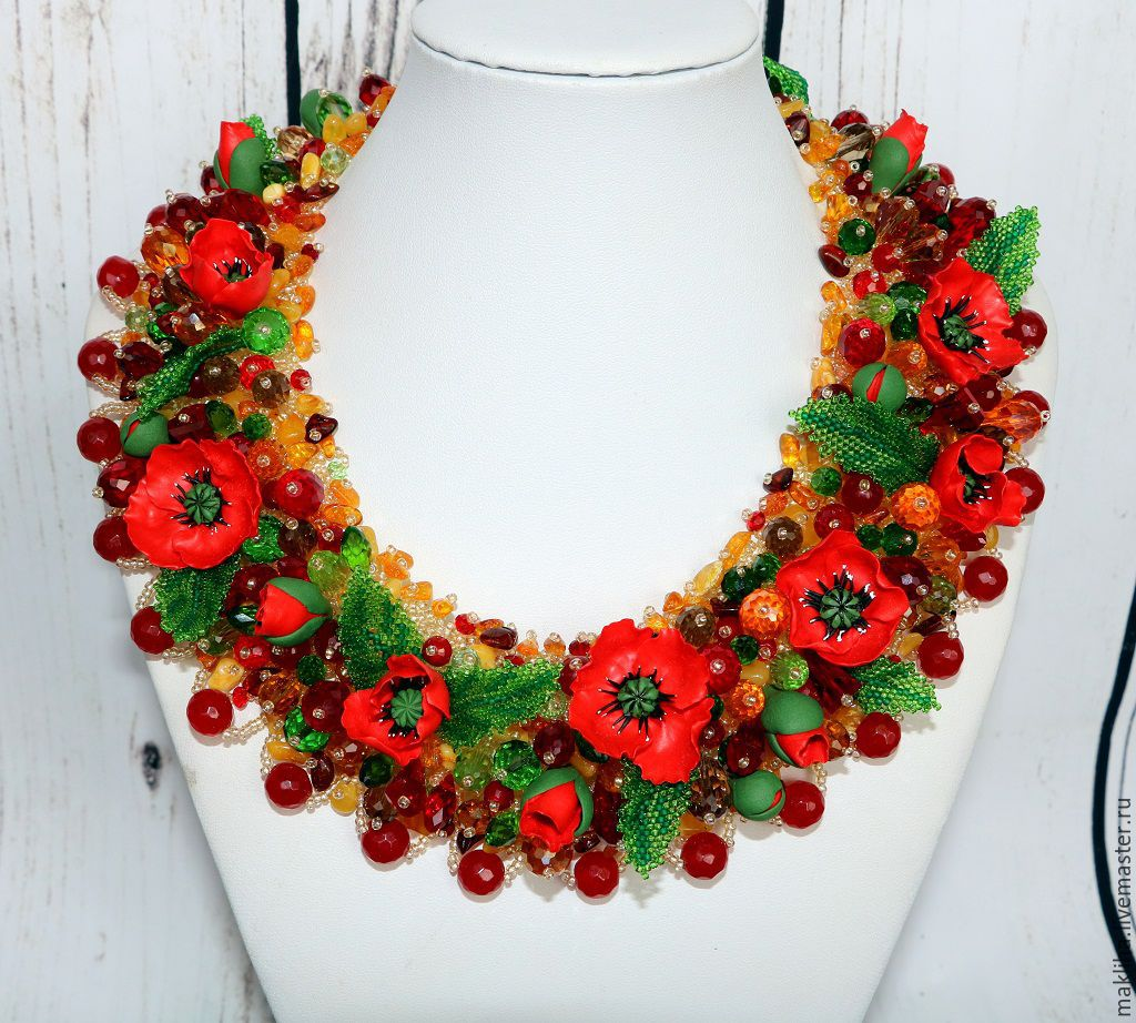Necklace of beads and stones with flowers 'Poppies', Necklace, Moscow,  Фото №1