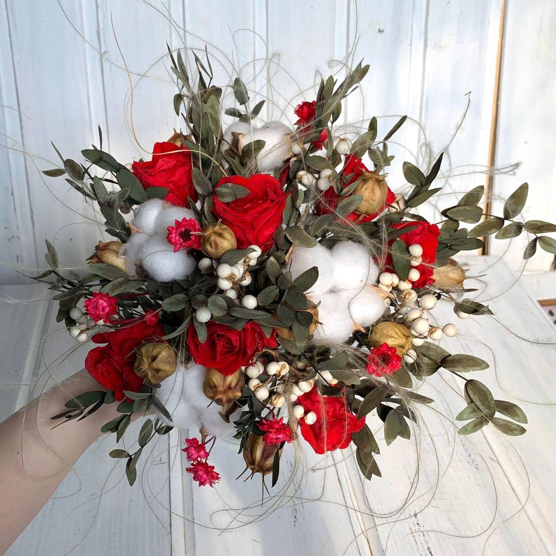 Букет  невесты из стабилизированных цветов « Красный», Букеты, Москва,  Фото №1