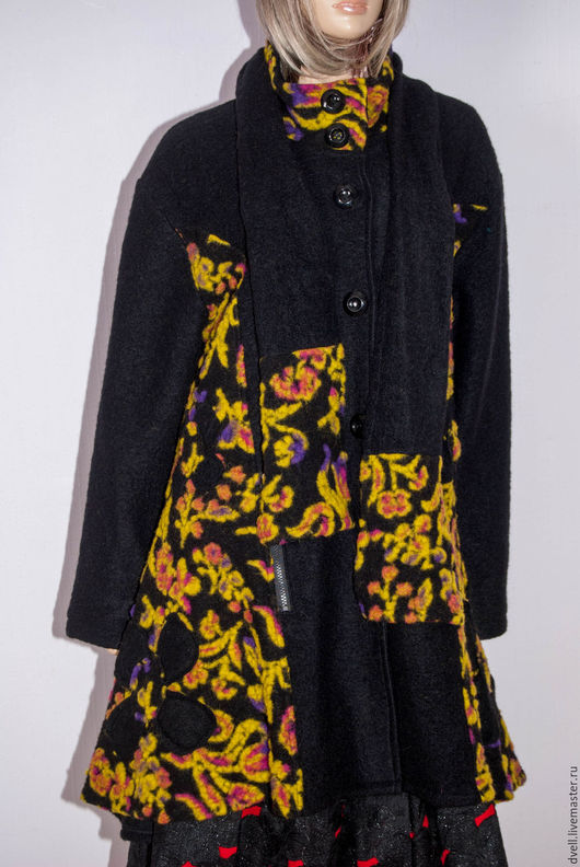Верхняя одежда ручной работы. Ярмарка Мастеров - ручная работа. Купить Пальто валяная шерсть бохо. Handmade. Черный, для женщин