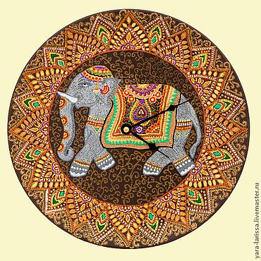 """Для дома и интерьера ручной работы. Ярмарка Мастеров - ручная работа """"Индийский слон"""" Часы настенные ,интерьерные. Handmade."""