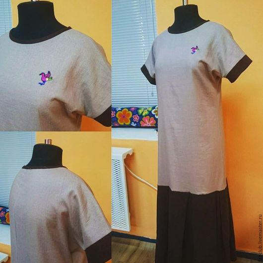 Платья ручной работы. Ярмарка Мастеров - ручная работа. Купить Платье из льна  (размер 44-48). Handmade. Однотонный, лен