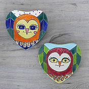 Посуда handmade. Livemaster - original item A set of ceramic plates Bright owls in a magical forest. Handmade.