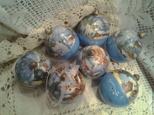 Новый год 2017 ручной работы. Ярмарка Мастеров - ручная работа. Купить Колокольчики и шарики( открывающиеся)Зима. Handmade. Голубой, новый год декупаж
