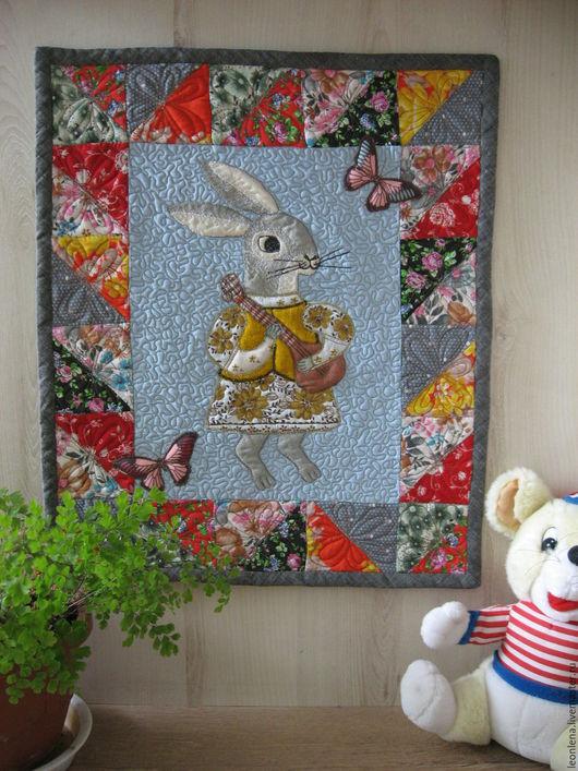 """Животные ручной работы. Ярмарка Мастеров - ручная работа. Купить Панно """"Зайчик-попрыгайчик"""". Handmade. Голубой, зайчик, панно на стену"""