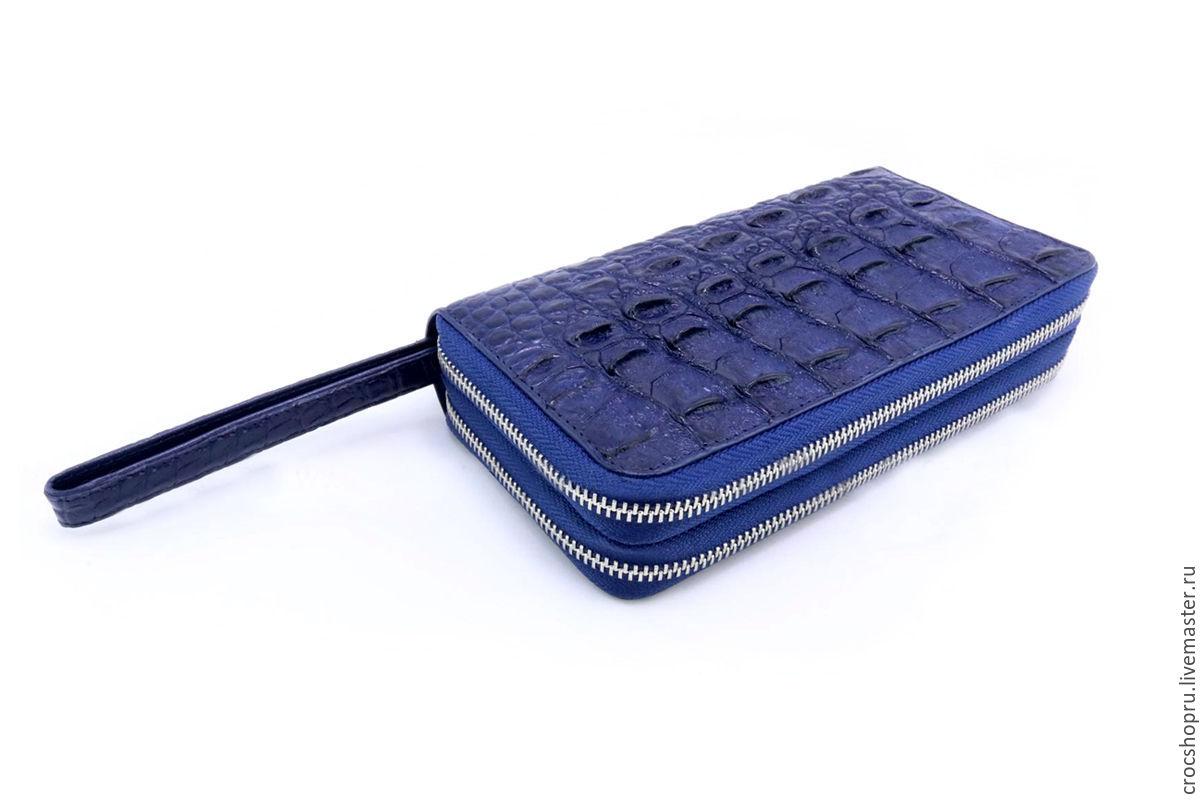 Мужские сумки ручной работы. Ярмарка Мастеров - ручная работа. Купить Клатч синий из кожи крокодила IMA0198C3. Handmade. Синий