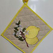 Для дома и интерьера ручной работы. Ярмарка Мастеров - ручная работа Прихватка льняная с вышивкой Лимон. Handmade.